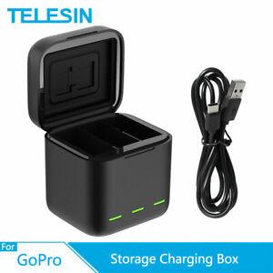 TELESIN 3 Slots Charger TF Storage Charging Box For GoPro Hero 9 Black LED Light