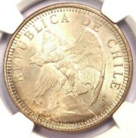 1927-SO Chile Silver 5 Pesos Coin S5P - Certified NGC MS65 (Gem BU) - Rare MS65!