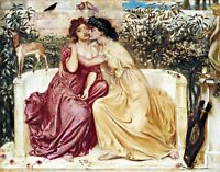 Sappho and Erinna by English Simeon Solomon. People Repro choose Canvas or Paper