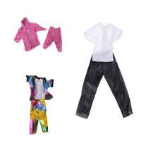 3 Sets Doll Clothes Suit for Barbie Ken Fashion Handmade Coat Pants for Dolls WC