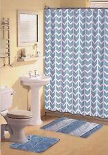 Blue & White Bathroom Set 15-PC Soft Thick Rugs Shower Curtain Ceramic Hooks