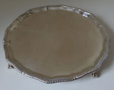 "Solid silver Antique larger SALVER 10"" - Weight 19.83 tr oz / 617 grams Lon 1905"