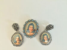 Ladies Antique Estate 3 pc Silver Filigree Portrait Frame Earrings Brooch Set