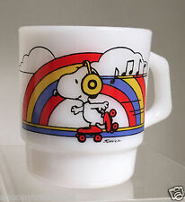 "SNOOPY FIRE-KING MILK GLASS CUP - JAPAN - ""THE SKATER'S WALTZ"""