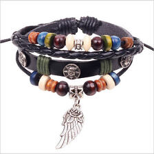 Latest Fashion, cool multilayer leather wrist band unisex Feather Wing Charm
