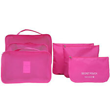 Rose 6pcs Waterproof Travel Clothes Storage Bags Luggage Organizer Pouch Packing