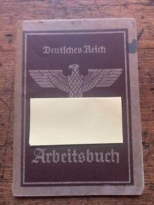 ORIGINAL RARE EMPLOYMENT RECORD BOOK DEUTICHES REICH ARBEITSBUCH NAZI GERMAN WW2