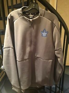 Men's Adidas Grey Toronto Maple Leafs Hockey Full Zip Gamemode Bomber Jacket