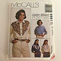 McCalls Sewing Pattern 6961 Misses' Shirts Long Sleeves Nancy Zieman 20 22 24 UC