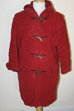 vintage LADYS RED BUTTON UP DUFFLE COAT SIZE M BY GLOVERALL