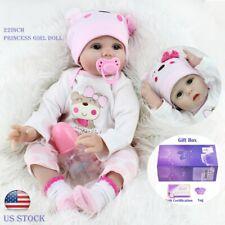 "22"" Realistic Vinyl Silicone Girl Reborn Baby Dolls Newborn Handmade Doll Gifts"