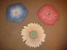 Lovely Multi Colored Resin Flower Wall Sculptures - Set of 3