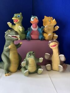 6 Vintage Pizza Hut 1988 Complete SET Land Before Time Hand Puppets Petrie