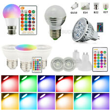RGB LED Light Bulbs B22 E27 E14 Multi Colour Changing IR Remote Controlled Lamps