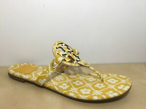 Tory Burch Miller Sandal Patent Yellow / White Floral Print Thong Flat US 10 M
