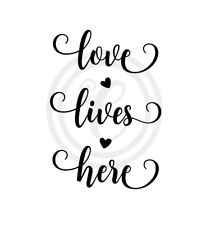 Love Lives Here with Hearts Wall Art Vinyl Sticker Decal Black(#725)