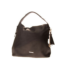 RRP €120 CRISTINAEFFE Hobo Bag Large Grainy Faux Leather Tassel Charm Zipped