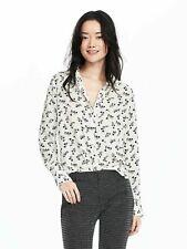 BANANA REPUBLIC Popover Floral Print White Black Sz L 12 14 Ret $68