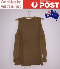 COLD SHOULDER RIBBED OVERSIZED SWEATER - CAMEL BROWN, HIGH NECK - SUPRE SIZE XS