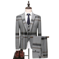 Men Suit Gray Plaid Fashion Groom Tuxedos Formal Wedding Prom Party Dinner Suit