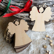 10X Wood Hanging Angel Christmas Chip Ornaments Xmas Tree Decor Crafts DIY