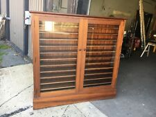 "Pretty c1930-40 mahogany ledger cabinet old glass solid 54"" h x 56.5"" w x 9""deep"