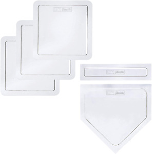 Sports Thrown Down Baseball Bases with Home Plate and Pitchers Rubber Base Set