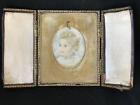 Stunning 19th Century Oval Miniature Watercolour Portrait Of a Young Boy, Signed