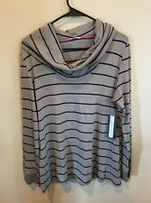 Tommy Hilfiger Long Sleeve Cowell Neck Gray, Blue Extra Large Blouse Shirt