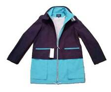 $645 FACONNABLE Stand Collar IMPERMEABLE Rain Coat BLUE / TURQUOISE Zip ( S )