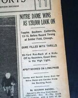 NOTRE DAME Fighting Irish vs. USC Trojans FOOTBALL Knute Rockne 1929 Newspaper