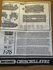 CHURCHILL AVRE 1/76 MATCHBOX PK-177/ASSEMBLY INSTRUCTIONS G622