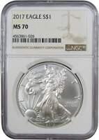 2017 $1 American Eagle 1 oz .999 Silver Dollar Coin MS 70 NGC