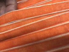 "VINTAGE 5/8"" VELVET ribbon 3 yds Orange Sorbet Made in France"