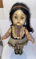 "1950's Reliable Toys Native American Indian Girl Sleepy Eye Doll 11"""