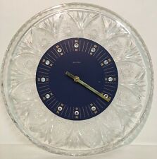 Vintage JungHans Quartz Wall Clock Glass Blue Face Germany Rind stones