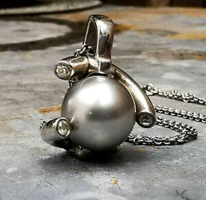 925 Sterling Silber Anhänger mit graue Perle + Zirkonia Besatz +Silberkette 45cm
