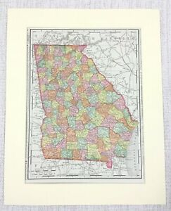 1901 Antique Map of Georgia State United States of America USA Americana