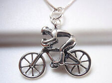 Bicycle Racer Pendant 925 Sterling Silver Corona Sun Jewelry racing bike rider