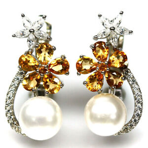 NATURAL WHITE PEARL, CITRINE & CZ EARRINGS 925 STERLING SILVER
