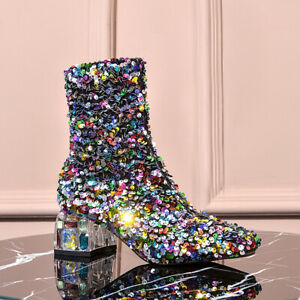 Occident Womens Round Toes Sequins Block Heels Boots Partyclub Wear shoes Free