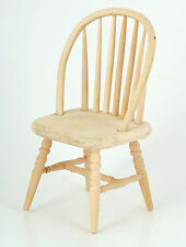 1:12 Scale Natural Finish Wood Spindle Back Chair Dolls House Kitchen Accessory
