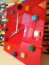 Handmade MOnkiStuff Designed Wall Clock Gloss RED, made using LEGO® Bricks
