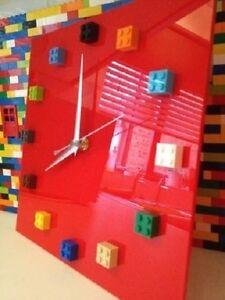 Handmade MOnkiStuff Designed Wall Clock Gloss RED, made using LEGO® Bricks