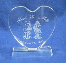 "This is a 5"" crystal hearCrystal Mickey Minnie Mouse Wedding Cake Topper Engrave"