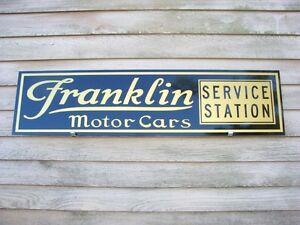 "FRANKLIN MOTOR CARS SERVICE STATION 9/"" x 12/"" ALUMINUM Sign"