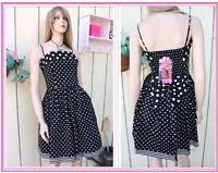 Betsey Johnson BLACK COTTON Flare POPLIN Polka Dot DRESS PINUP  STYLE ( 6 )