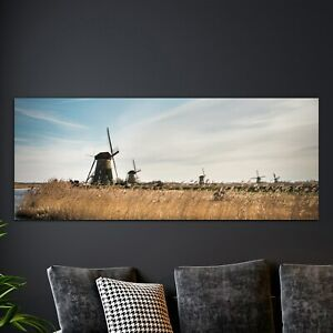 Glass Print Home Decoration Tempered 125x50 Windmills Landscape in Holland