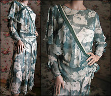 20s 30s FANTASTIC Floral Print SILK CHIFFON Dress EXCELLENT CONDITION Sz X-LARGE