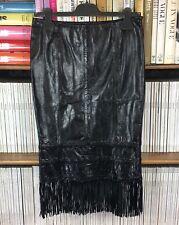 KAREN MILLEN skirt black fringe tassel real leather pencil midi UK 8 US 4